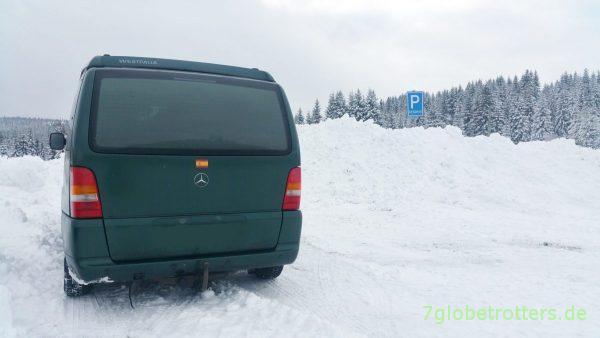 RESERVE: Der Vito auf unserem Stammparkplatz im Isergebirge