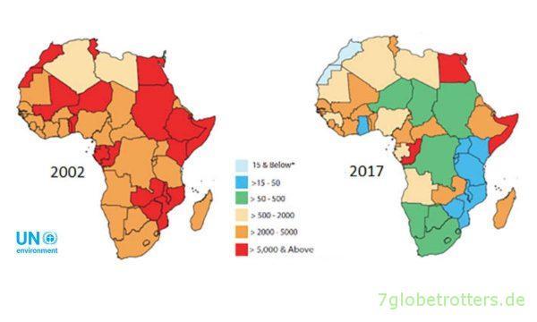 Schwefelgehalt Diesel in Afrika 2002 und 2017, Angabe in ppm (parts per million)
