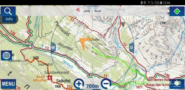 Fehlender Eintrag in der Kompasskarte von Südtirol