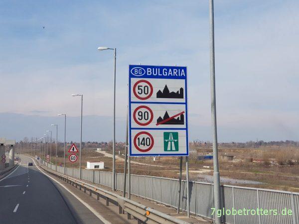 Geschwindigkeitsbeschränkungen in Bulgarien