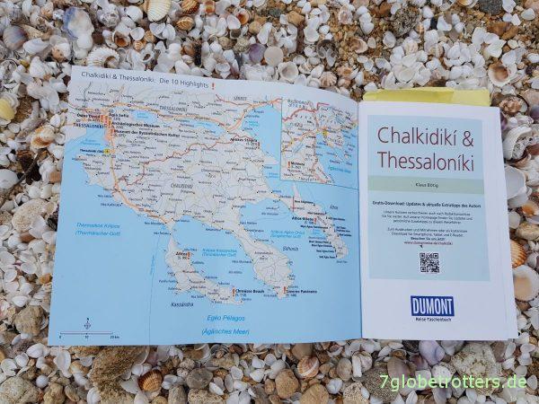 Praktische Umschlagkarte im Reiseführer Chalkidikí und Thessaloníki