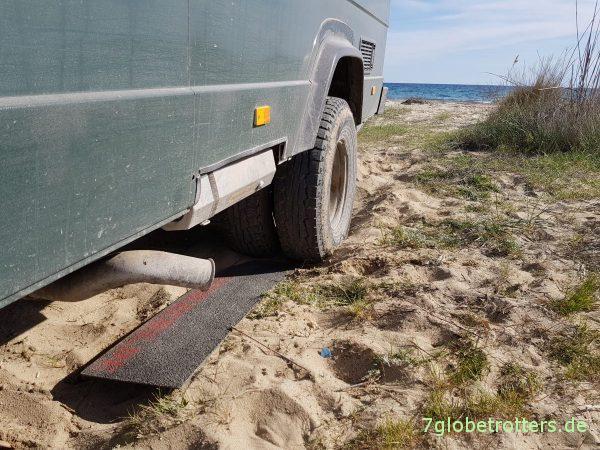 Test der GFK-Anfahrhilfen am LKW Wohnmobil