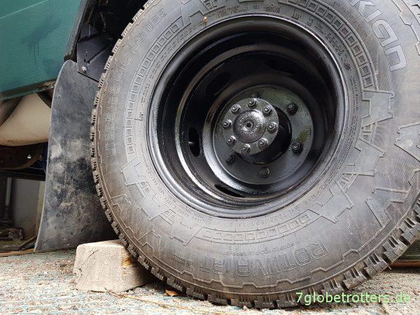 Schmutzlappen am Mercedes T2 selbst bauen und Größe der Radabdeckungen nach § 36a StVZO