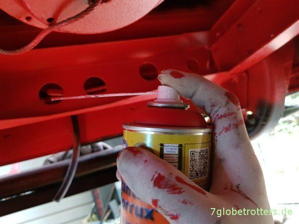 Pfusch beim Rostschutz, Nacharbeiten mit Brantho Korrux 3in1 aus der Komfort-Spraydose