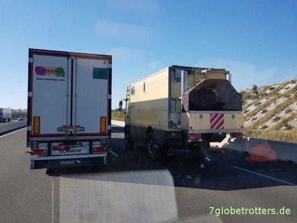 Vorteil der Mautkosten Frankreich - Spanien mit dem LKW: Höchstgeschwindigkeit für Wohnmobile Legal 110