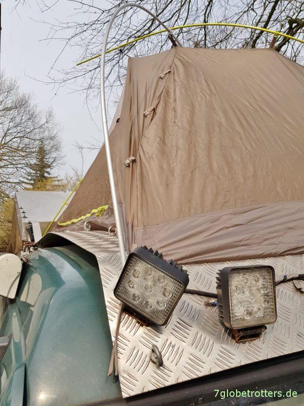 Dachzelt auf dem Wohnmobil, auf dem begehbaren Tropendach, Aufbauanleitung VAUDE Invieno SUL