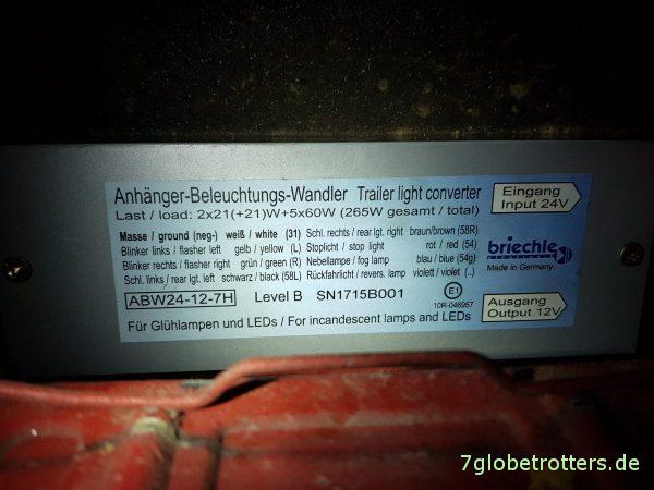 13-polige Anhängersteckdose Mercedes T2 anschließen, Schaltplan Belegung Farben LKW, Beleuchtungswandler ABW 24-12-7H von 24V auf 12V
