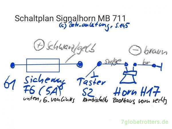 Schaltplan Signalhorn Mercedes 711