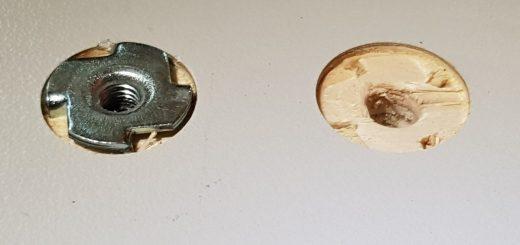Befestigung von Möbeln mit Einschlagmuttern