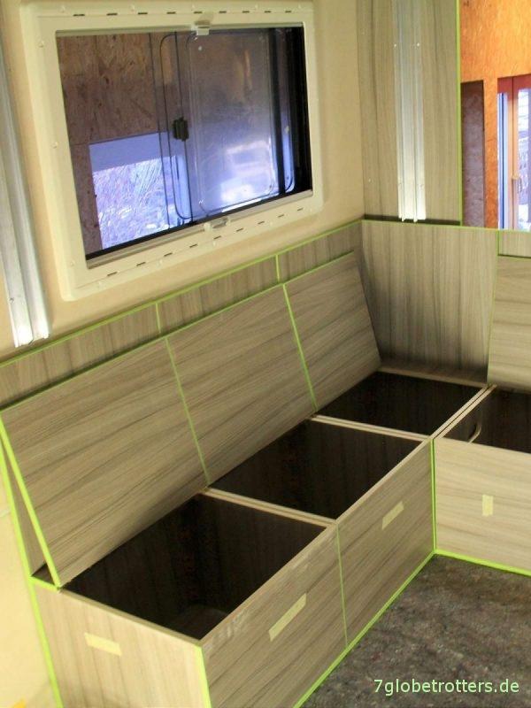 Möbelbau in Expeditionsmobil, Staukisten und Truhen