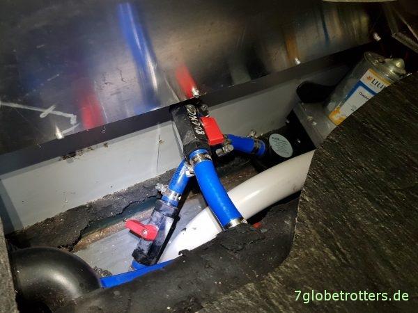 Wassertank im Wohnmobil nachrüsten, Anschluss im Doppelboden