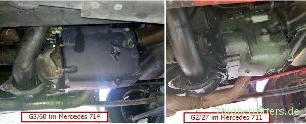 Mercedes 711 T2-LN1 mit Getriebe G2-27, Vergleich zum G3-60