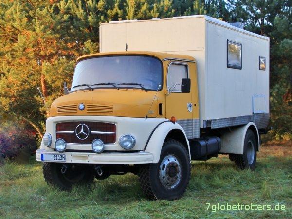 Mercedes-Benz Kurzhauber LA 1113 B-Modell mit Koffer als Wohnmobil