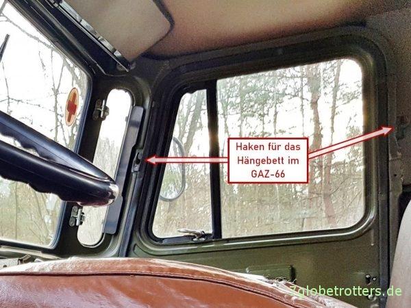 Aufnahmen für das Hängebett im Fahrerhaus des GAZ-66 Schischiga