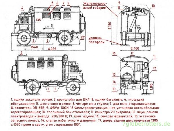 GAZ-66, Blueprint КУНГ кузов-фургон K66 на шасси автомобилия ГАЗ-66