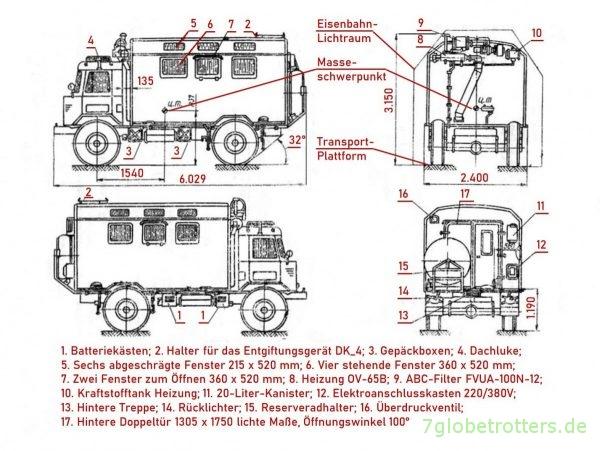 Zeichnung GAZ-66 mit Kofferaufbau KUNG K66