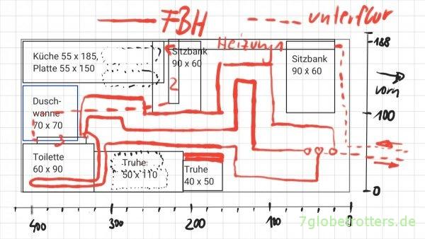 Grundriss und Verlegeplan für die Nachrüstung meiner Fußbodenheizung im Wohnmobil