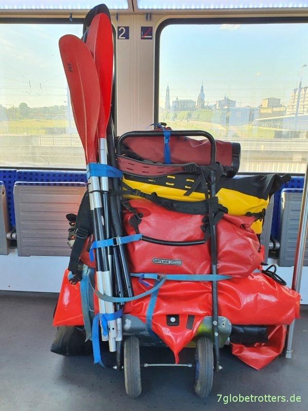 Selbst gebauter Bootswagen mit Lufträdern vom Kinderrroller
