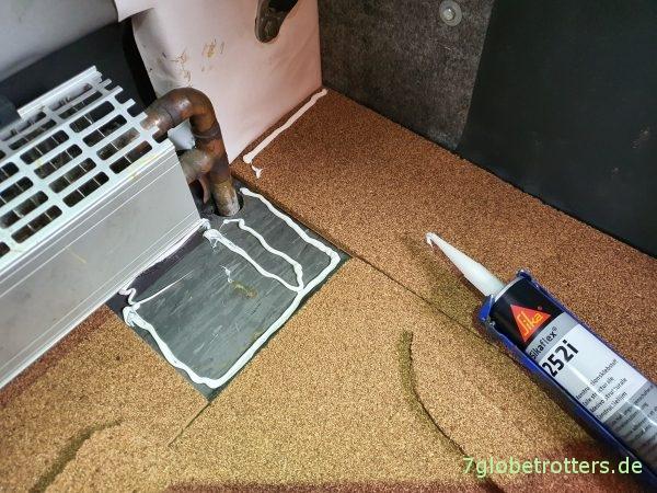 Korkboden verlegen im Wohnmobil mit Klebertest