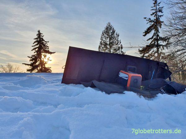 Test der PowerOak Akkubox und des Solarpanels im Winter