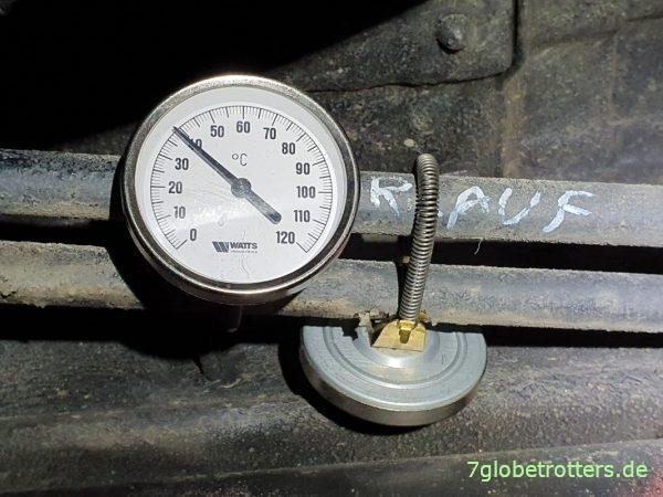 Vorlauftemperatur der Webasto Dieselheizung nach der Wartung