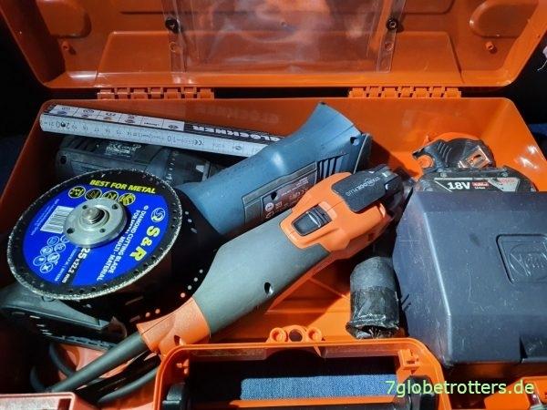 Beladungs-Test: Fein MultiMaster 500, Akkuflex, Akkuschrauber und Zubehör im Fein-Koffer