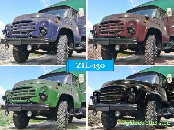 Ein paar eingefärbte Modelle des ZIL-130