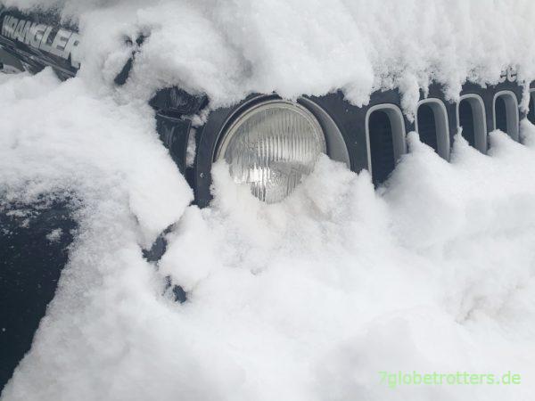 Viel Schnee heißt Allrad einschalten am Jeep Wrangler JK