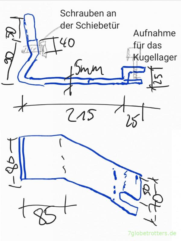 Zeichnung Führungsarm A6707601135 für die untere Halterung der Schiebetür