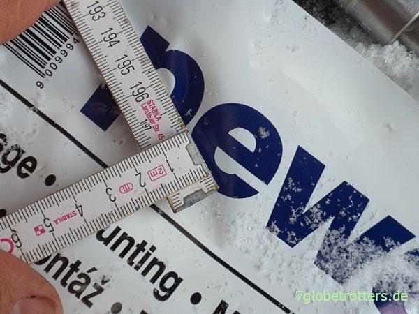 Platzbedarf der Schneeketten Brenta-C 4x4