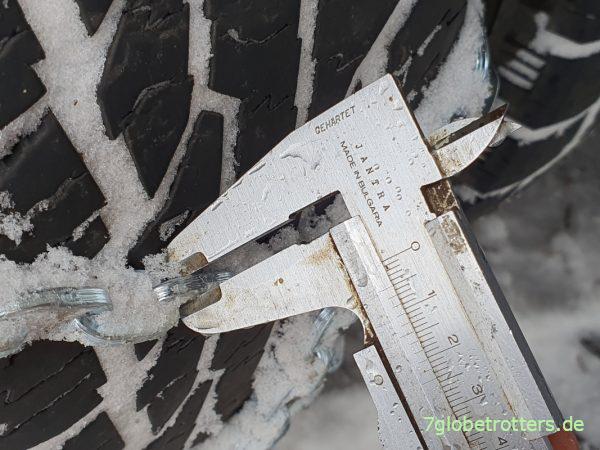 Materialstärke der Schneeketten PEWAG Brenta-C 4x4