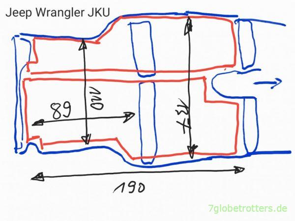 Schlafen im Jeep Wrangler: Skizze der Liegefläche und Matratze im JKU