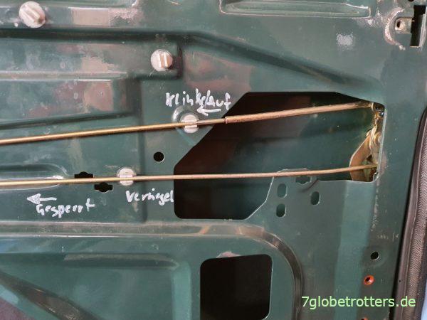 Betätigungsstangen für den Schließmechanismus der Schiebetür Mercedes T2N