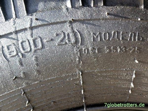 Bereifung des ZIL-130 und ZIL-133: 9.00 R 20