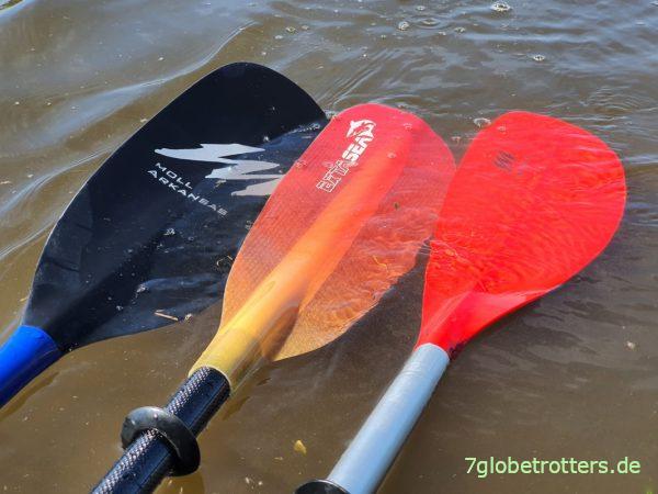 Form der Kajak-Paddel Moll Playa, Moll Arkansas und Extasea Pro Tour Carbon Vario