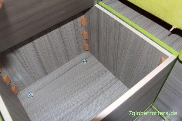 Zurrpunkte mit Verschraubung der Sitzkästen im Wohnmobil