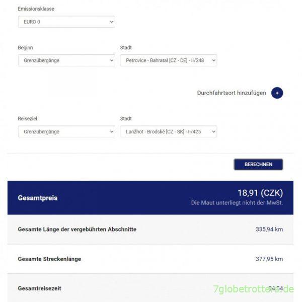 Kosten für die Autobahnmaut in Tschechien 2021