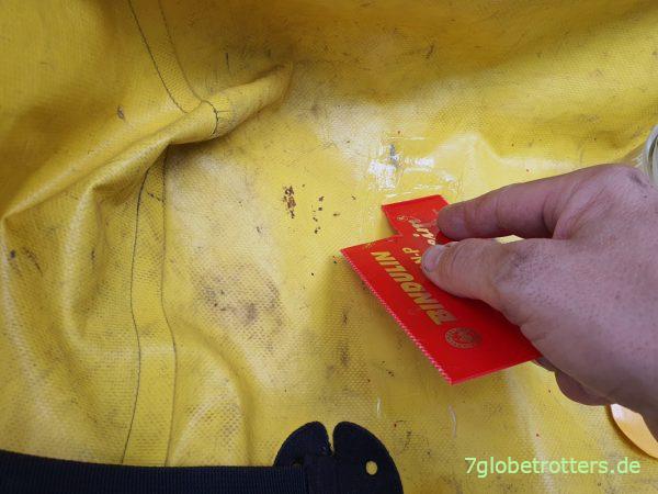 Ortlieb-Taschen reparieren mit LKW-Plane und PVC-Kleber