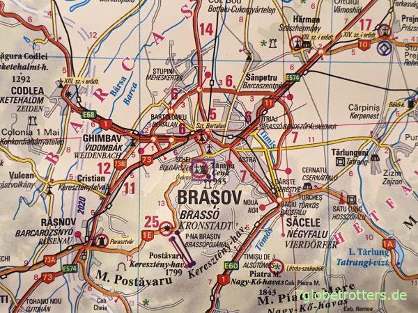 Dreisprachige DIMAP-Karte von Siebenbürgen, Erdely, Transsilvania
