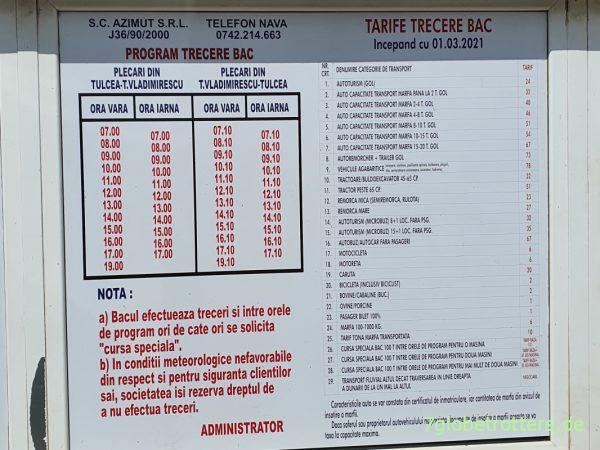 Kosten und Fahrzeiten der Donaufähre Tulcea - Vladimirescu