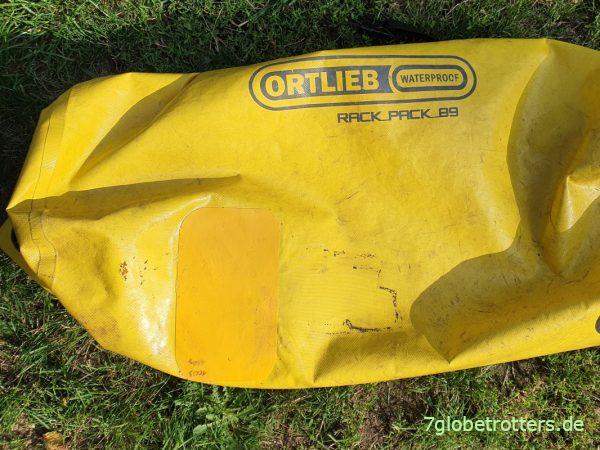Ortlieb-Tasche Rack-Pack reparieren mit Flicken aus LKW-Plane
