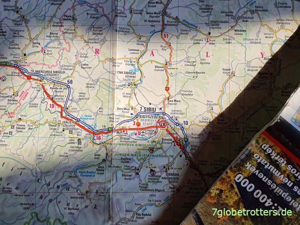 Rumänien-Landkarte DIMAP mit rumänisch-ungarisch-deutschen Ortsnamen Sibiu