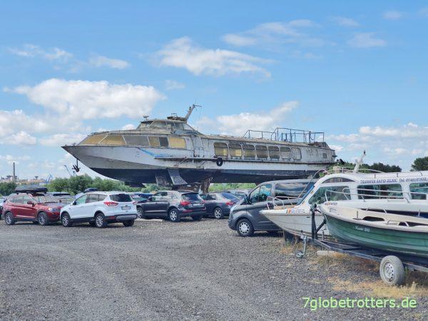 Kometa Tragflügelboot an der Donaufähre Tulcea - Vladimirescu