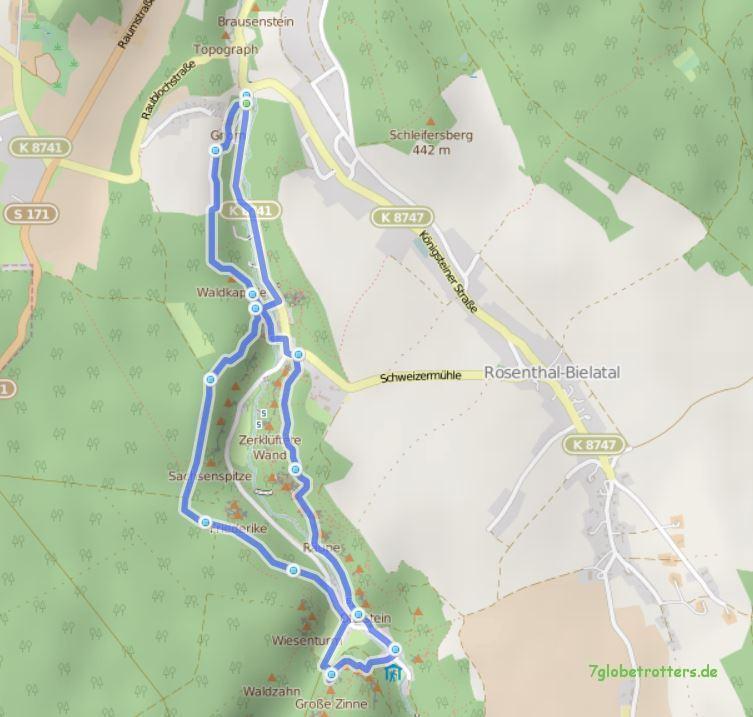 Karte Bielatal