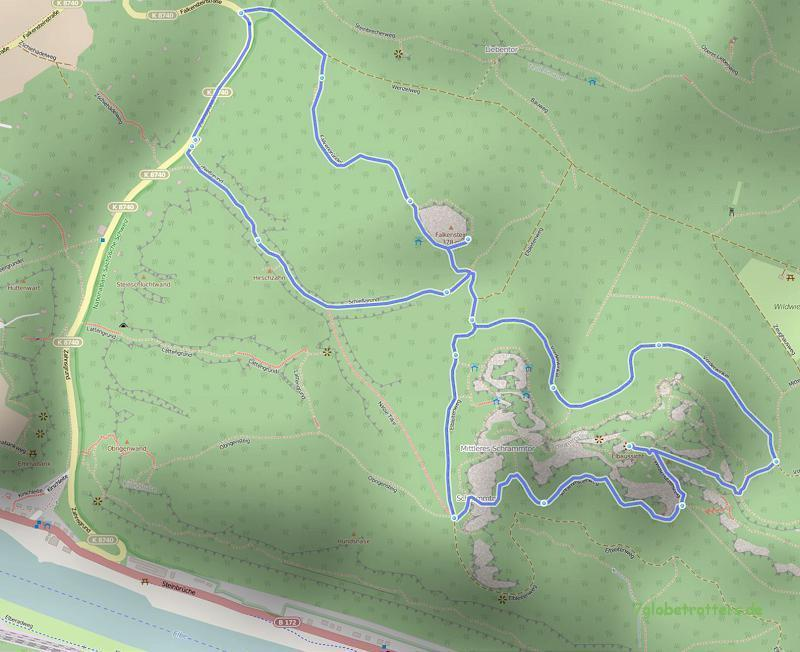 Wanderung Falkenstein - Schrammsteine (Karte: OpenStreetMap, gpsies.de)